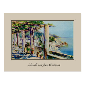 Aquarelle Watercolor Amalfi Gulf Of Salerno Postcard