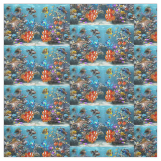 aquarium fish design fabric