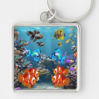 Aquarium Sealife Style Silver-Colored Square Key Ring
