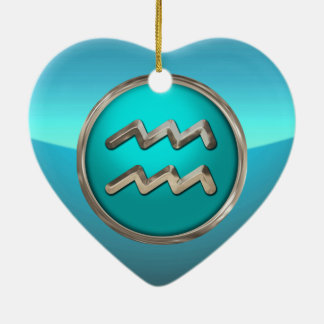 Aquarius Astrological Sign Double-Sided Heart Ceramic Christmas Ornament
