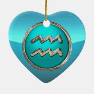 Aquarius Astrological Sign Ceramic Heart Decoration