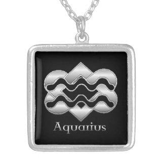 Aquarius Birth Sign Celtic Knot Zodiac Necklace Square Pendant Necklace