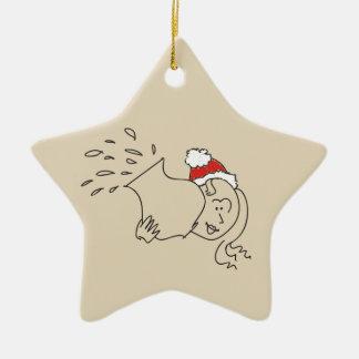 Aquarius Christmas Funny Red Star Astrology Chic Ceramic Ornament