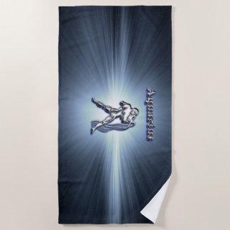Aquarius chrome symbol beach towel