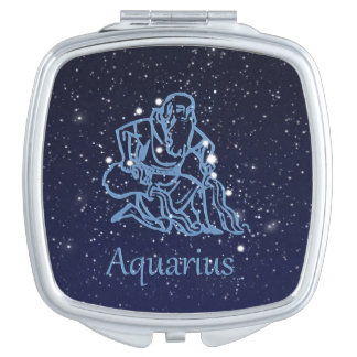 Aquarius Constellation and Zodiac Sign with Stars Compact Mirror