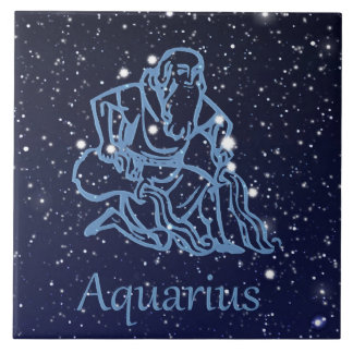 Aquarius Constellation and Zodiac Sign with Stars Large Square Tile