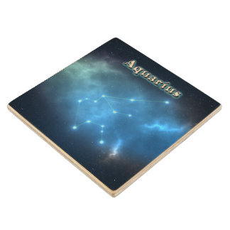 Aquarius constellation wood coaster