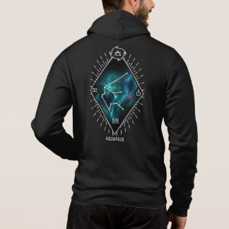 Aquarius Constellation & Zodiac Symbol Zip Hoodie