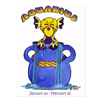 aquarius cute zodiac baby dragon postcard