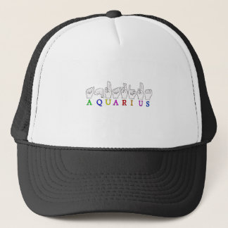 AQUARIUS FINGERSPELLED ASL ZODIAC SIGN TRUCKER HAT