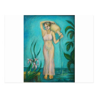 Aquarius Goddess with Lilly by the Water Postcard