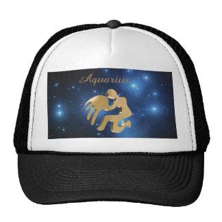 Aquarius golden sign cap