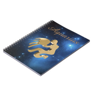 Aquarius golden sign notebook