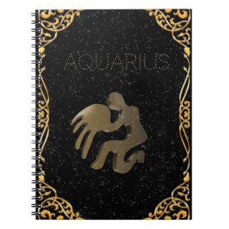 Aquarius golden sign notebooks