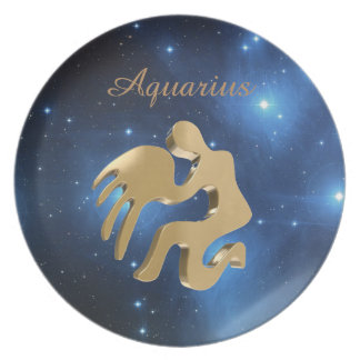 Aquarius golden sign party plate