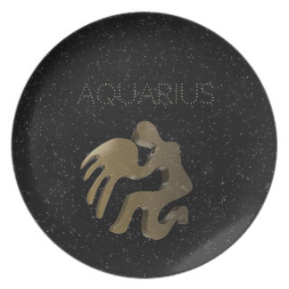 Aquarius golden sign party plates