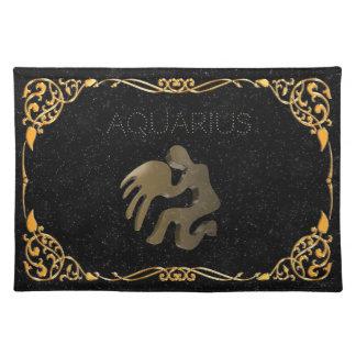 Aquarius golden sign placemat