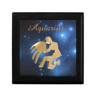Aquarius golden sign small square gift box