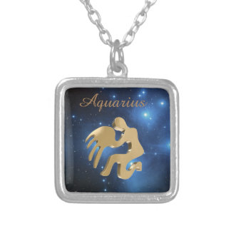 Aquarius golden sign square pendant necklace