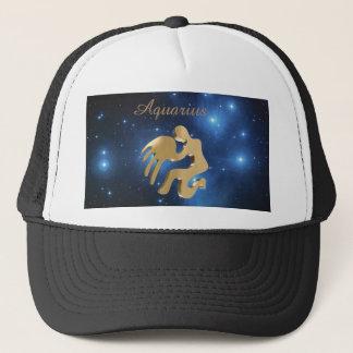 Aquarius golden sign trucker hat