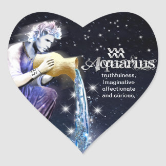 Aquarius Heart Stickers