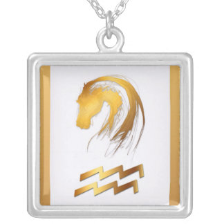 Aquarius Horse Chinese Western Astrology Birthday Silver Plated Necklace