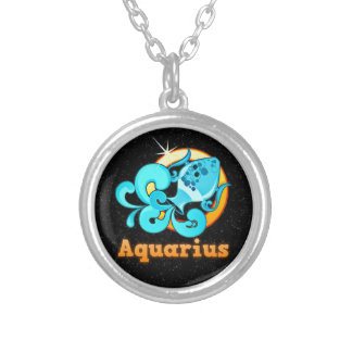 Aquarius illustration silver plated necklace