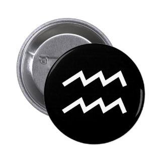 Aquarius Symbol 6 Cm Round Badge