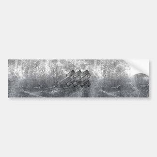 Aquarius Symbol Grunge Distressed Silver Steel Bumper Sticker