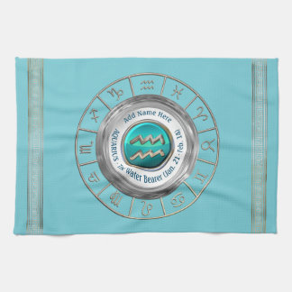 Aquarius - The Water Bearer Zodiac Sign Tea Towel