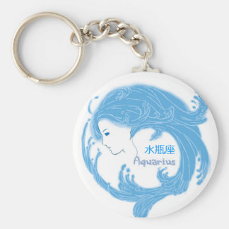 Aquarius with Chinese Symbols Basic Round Button Key Ring