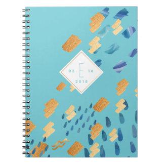 Aquarius Zodiac Abstract Aqua & Gold Notebook
