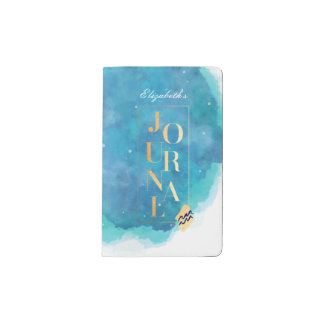 Aquarius Zodiac Aqua & Gold Watercolour Journal