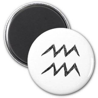 Aquarius. Zodiac Astrology Sign. Black. 6 Cm Round Magnet