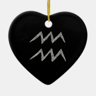 Aquarius. Zodiac Astrology Sign. Black. Christmas Tree Ornaments