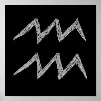 Aquarius. Zodiac Astrology Sign. Black. Poster