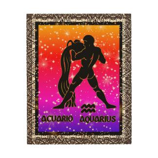 Aquarius Zodiac Astrology Wood Wall Art