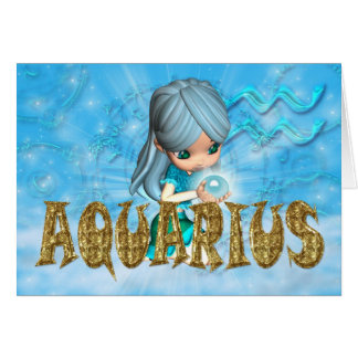Aquarius Zodiac Birthday card with cutie pie aquam