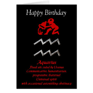 Aquarius Zodiac Sign Birthday Greeting Cards