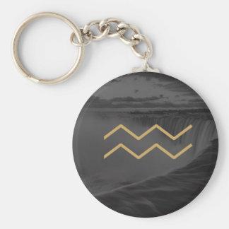 Aquarius Zodiac Sign   Custom Background Key Ring