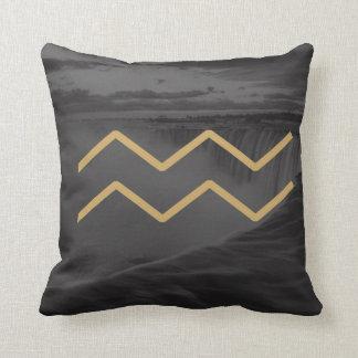 Aquarius Zodiac Sign | Custom Background Throw Pillow