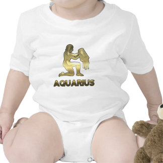 Aquarius zodiac sign - old gold edition baby bodysuits