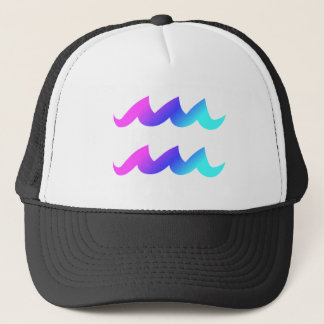 Aquarius Zodiac Sign Pink Blue Aqua Gradient Trucker Hat