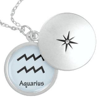 Aquarius zodiac sign sterling silver necklace