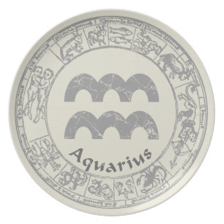 Aquarius Zodiac sign vintage Plate