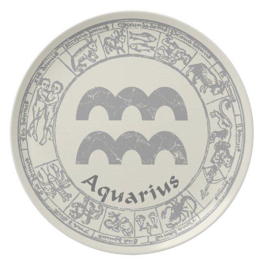 Aquarius Zodiac sign vintage Plate