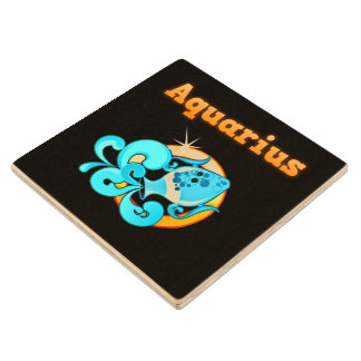 Aquarius zodiac sign wood coaster