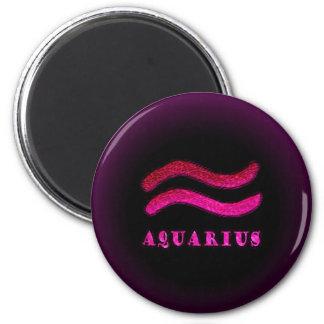 Aquarius Zodiac Symbol 6 Cm Round Magnet