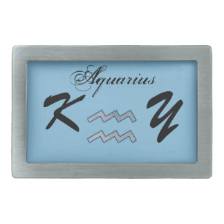 Aquarius Zodiac Symbol Element by Kenneth Yoncich Rectangular Belt Buckle