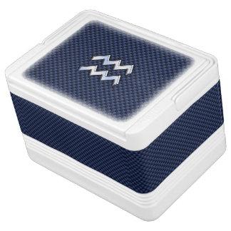 Aquarius Zodiac Symbol on Navy Blue Carbon Fiber Cooler